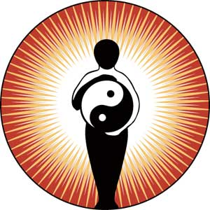 Silhoutte of figure holding a yin yang ball, with sun beams radiating from figure