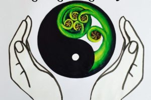 A drawing of two hands holding the Yin/Yang symbol. One half of the symbol is a fern frond, the other is black