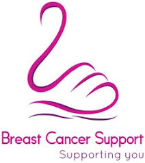 Breast Cancer Support logo, looks like swan made of a pink ribbon