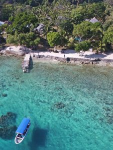 Aerial view of turquoise lagoon waters with coral reef, white sandy beach and shady trees