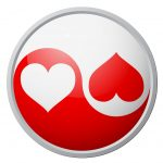 Yin and Yang symbol with hearts